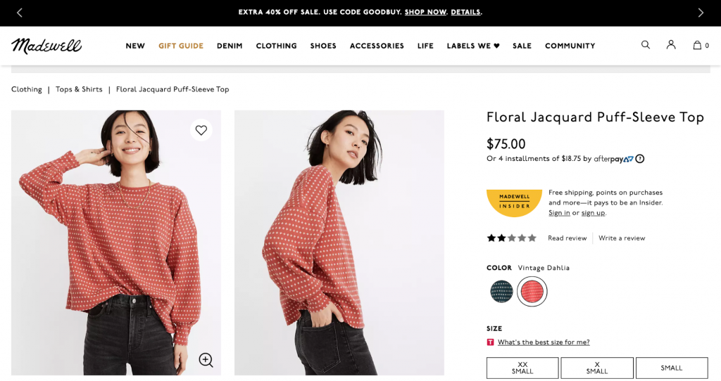 Screenshot of Madewell online clothing store product page