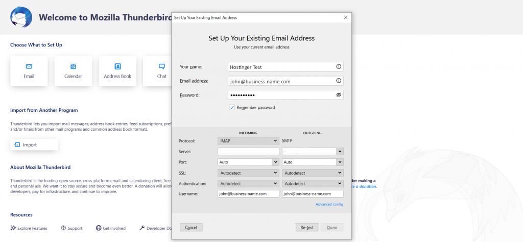 Thunderbird's email setup form