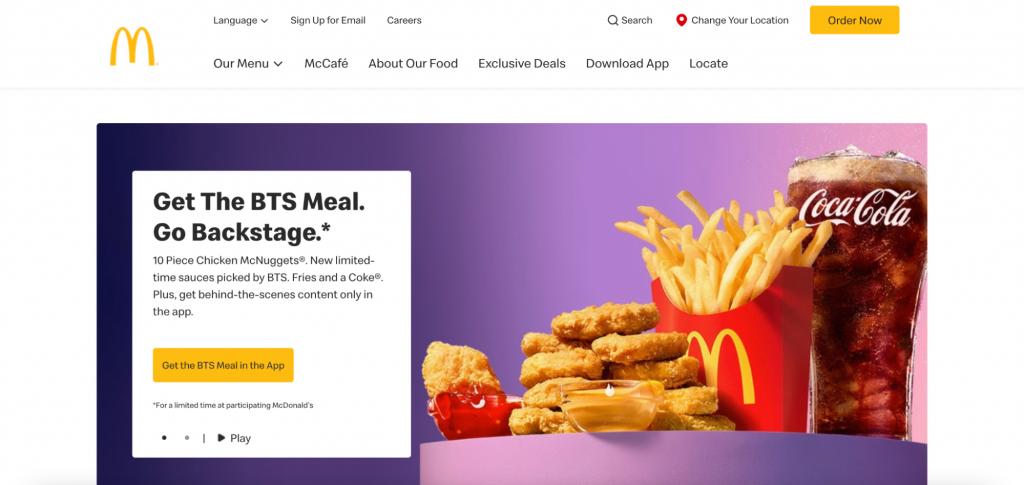 Screenshot of McDonald's website