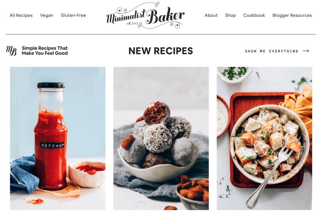 Minimalist Baker food blog