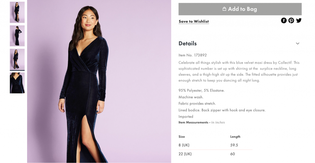 Screenshot of Modcloth online clothing store product page