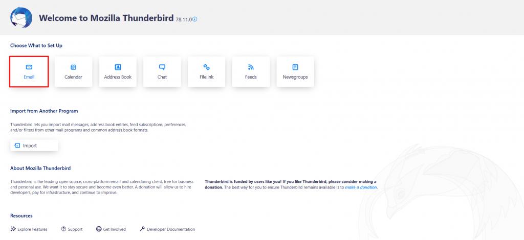 Mozilla Thunderbird's set up page