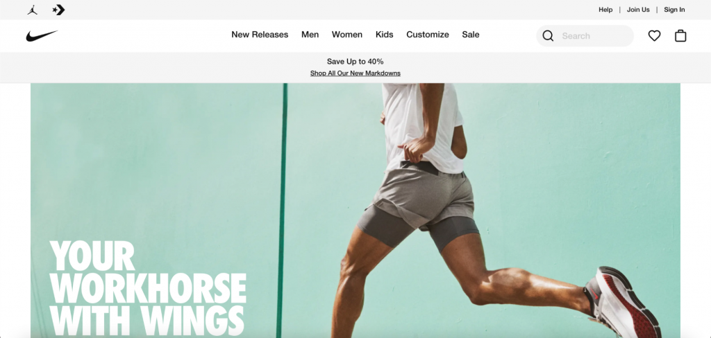 Screenshot of Nike website