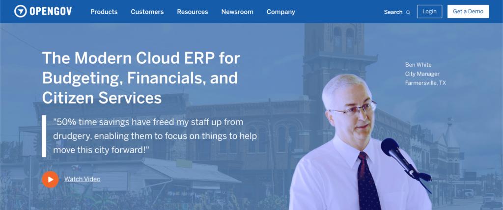 Screenshot of OpenGov website