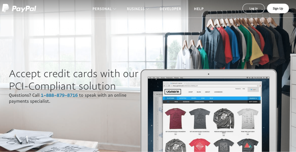 PayPal website landing page