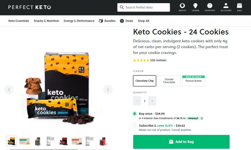 Screenshot of Perfect Keto's product page