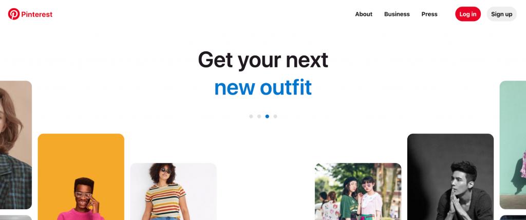 Homepage of Pinterest