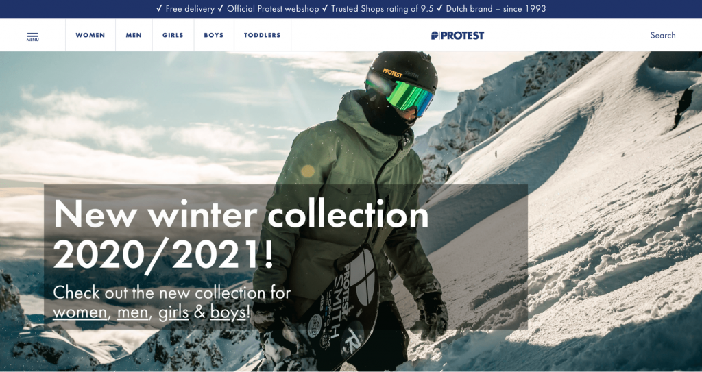 Screenshot of Protest online clothing store homepage
