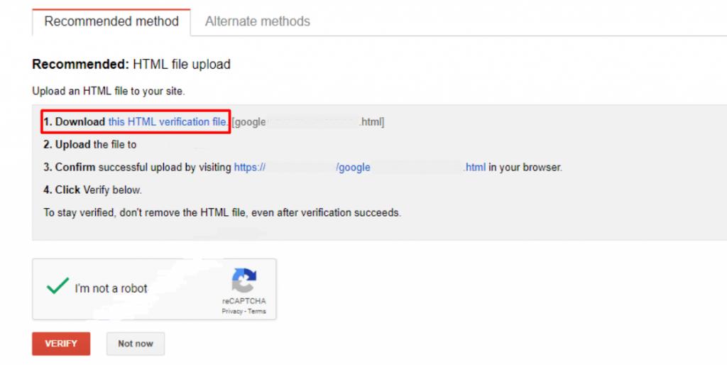 Google Workspace setup: recommended method window