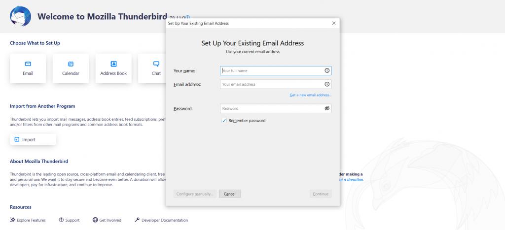 Thunderbird's email setup: login page