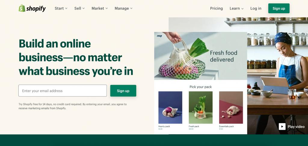 Screenshot of Shopify's landing page