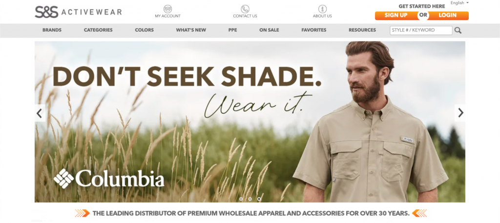 Screenshot of S&S Activewear homepage