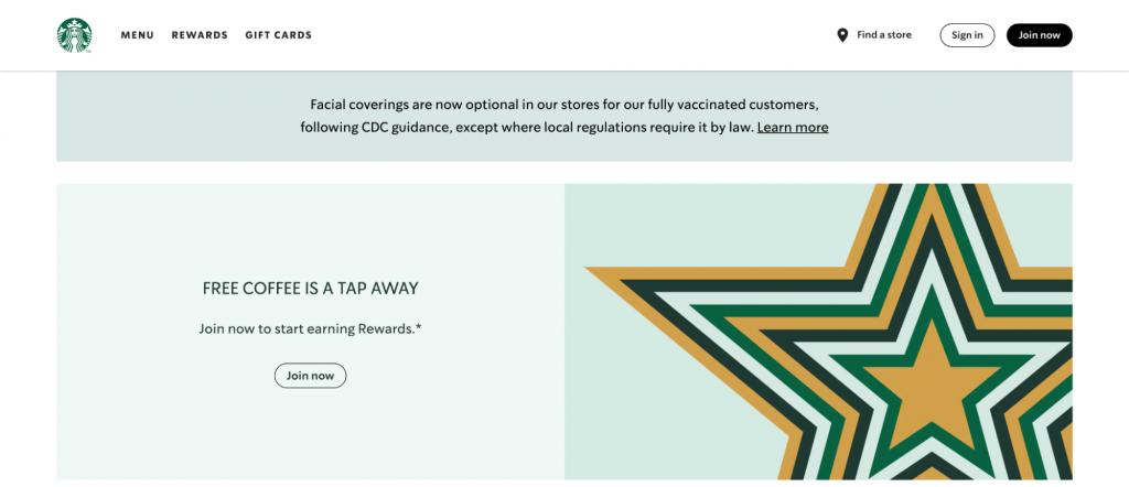 Starbucks website landing page