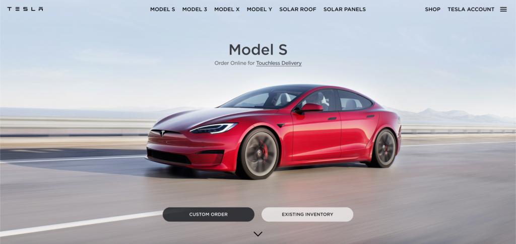 Screenshot of Tesla website