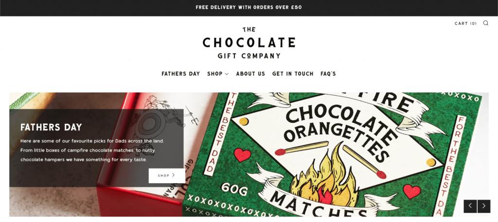 Screenshot of The Chocolate Gift website