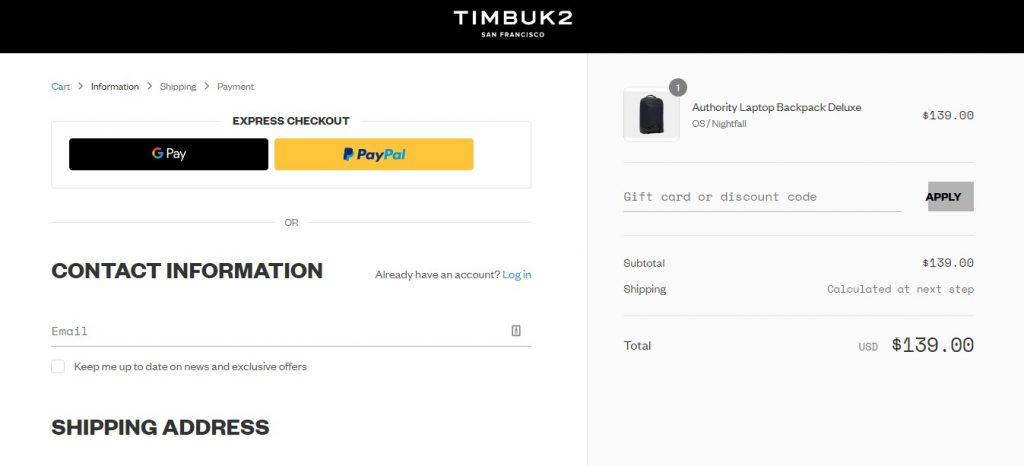 Screenshot of Timbuk2's payment page
