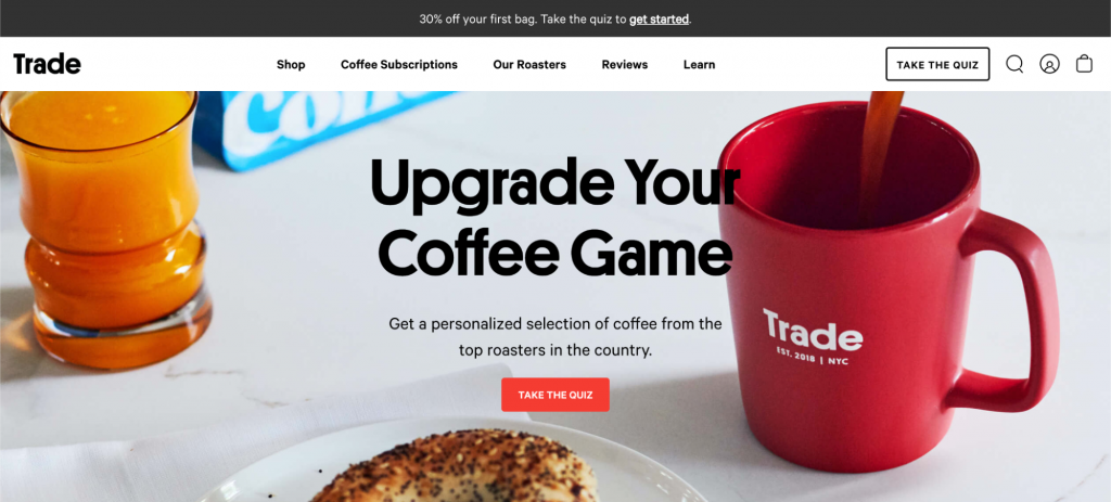 Screenshot of Trade Coffee homepage
