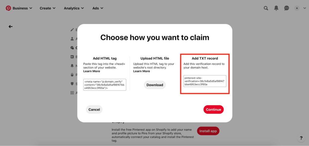 Claiming website by adding txt record