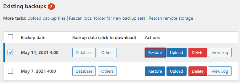 Restoring backup files using UpdraftPlus plugin.