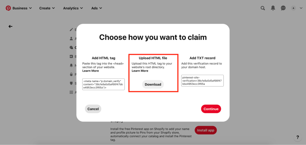 Claiming website by uploading HTML