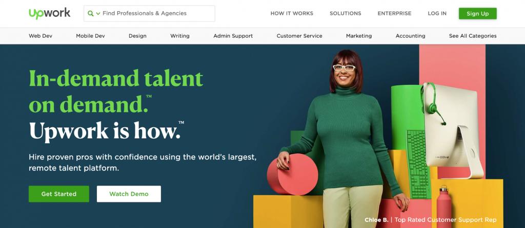 Screenshot of Upwork homepage