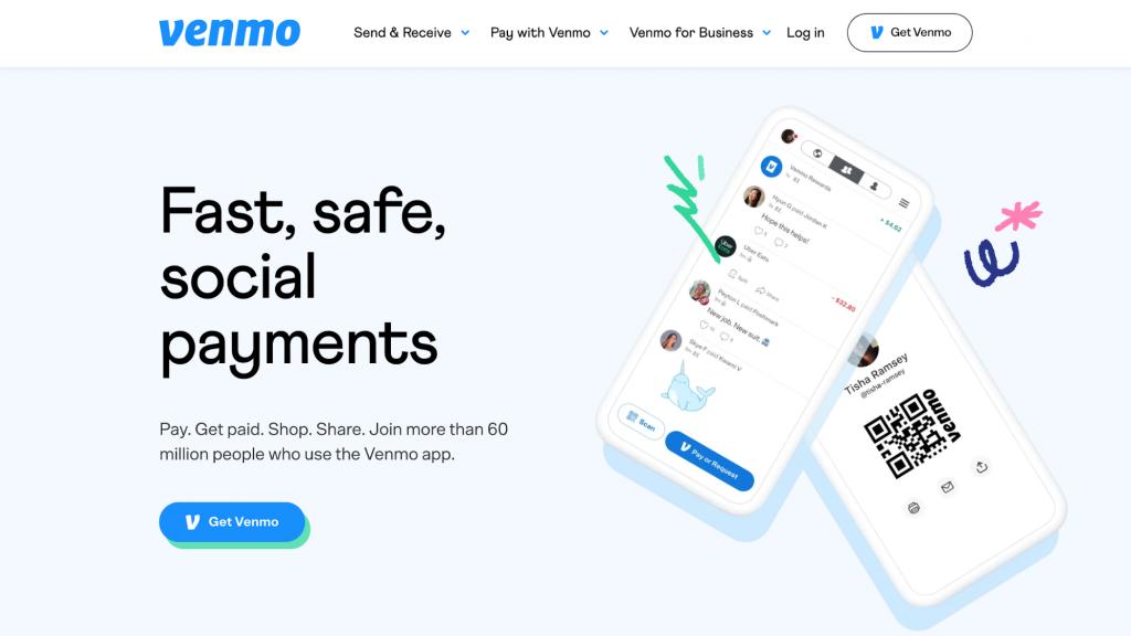 Website homepage of Venmo, a mobile peer-to-peer payment application