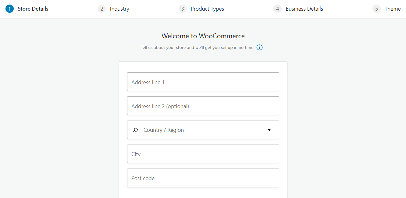 Image shows the WooCommerce setup wizard