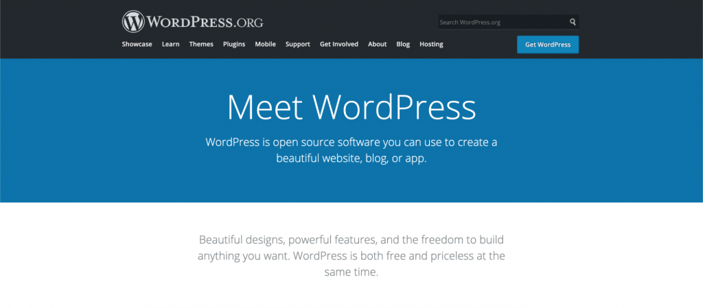 The official homepage of WordPress.org