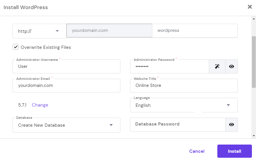 Images shows the requireds administrative fields to install WordPress