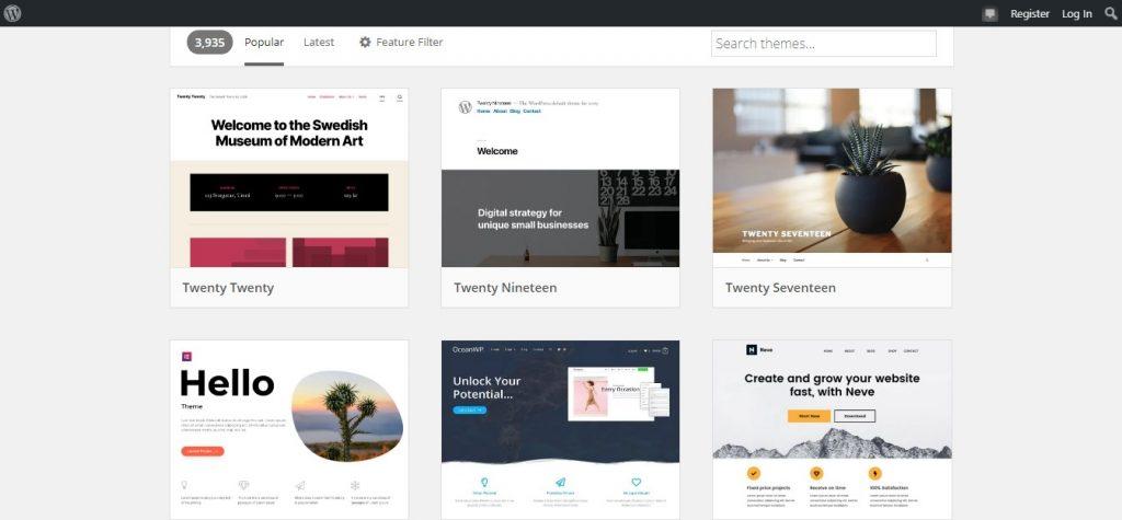 Screenshot of WordPress themes page