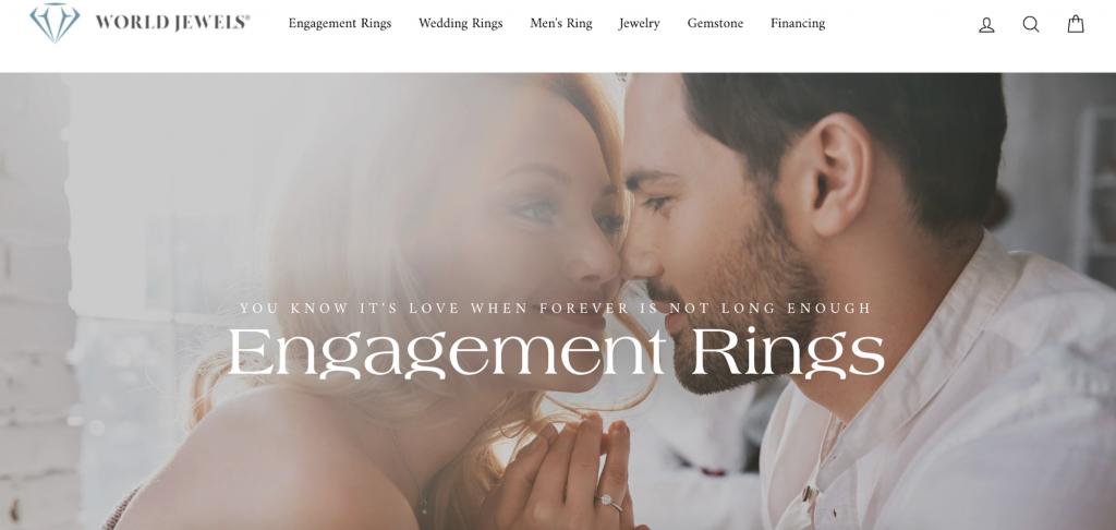Screenshot of World Jewels' homepage