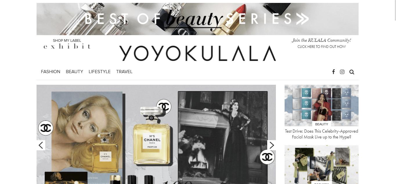 Fashion website Yoyokulala's homepage