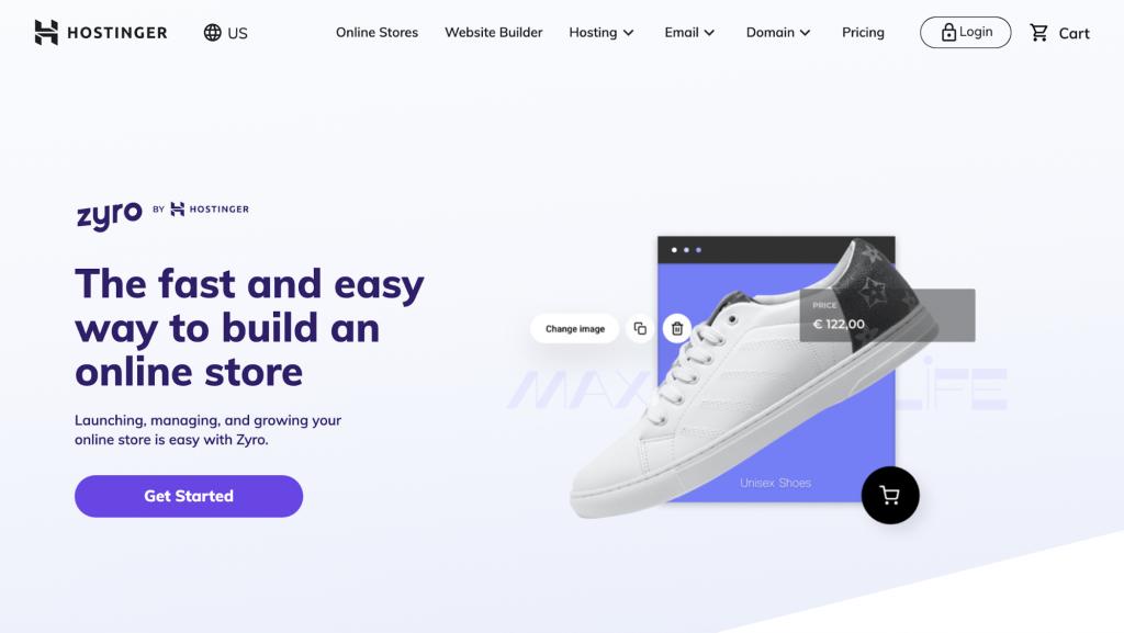 Screenshot of Zyro's online store landing page on Hostinger's website