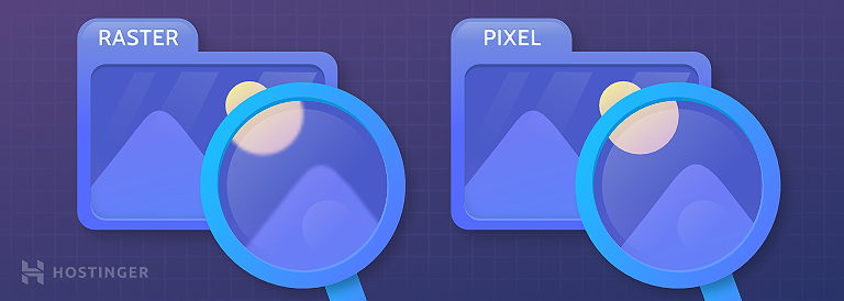 A graphical illustration showing how a raster and a pixel image appears when magnified.