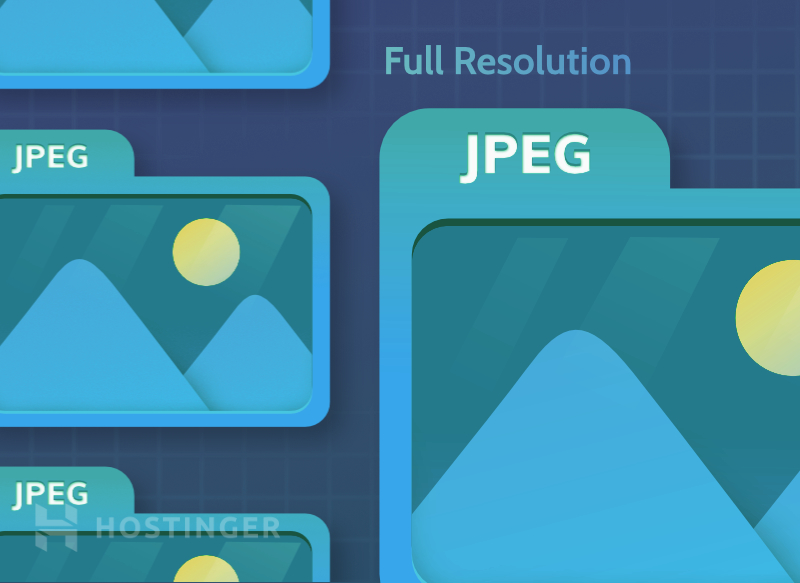 A graphical illustration showing how JPEG appears in full resolution.