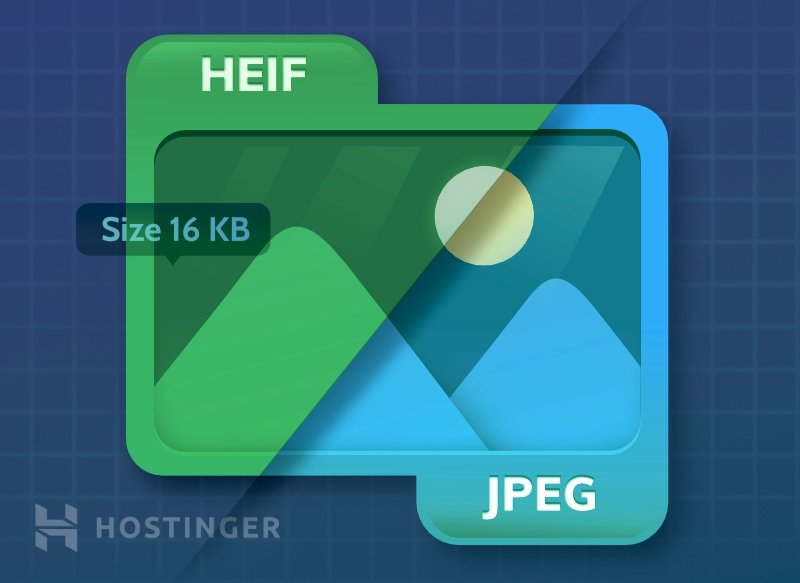 A graphical illustration comparing JPEG and HEIF image quality.