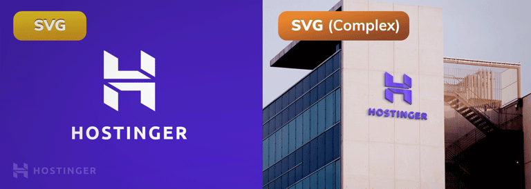 Side-by-side comparison of images in SVG and SVG complex.