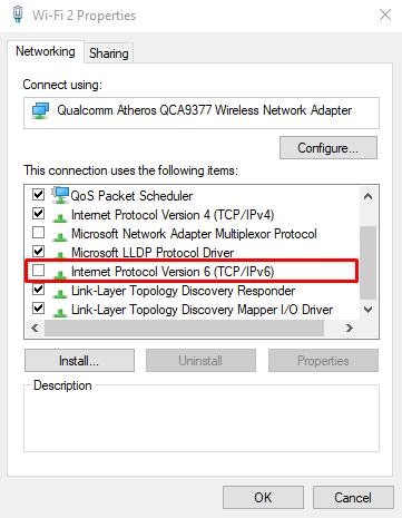 Screenshot of Windows Networking settings where you can select internet protocol version