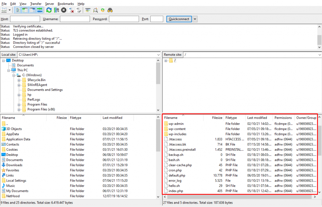 Screenshot of FileZilla showing the site's files stored in the public-html directory.