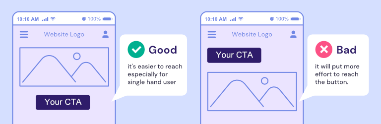 A graphic illustration showing a good and a bad example of CTA placement in a website.