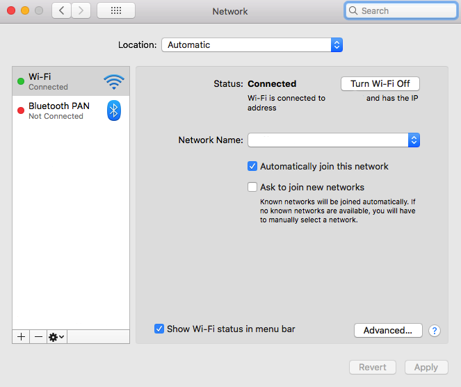 Screenshot of network settings in Mac