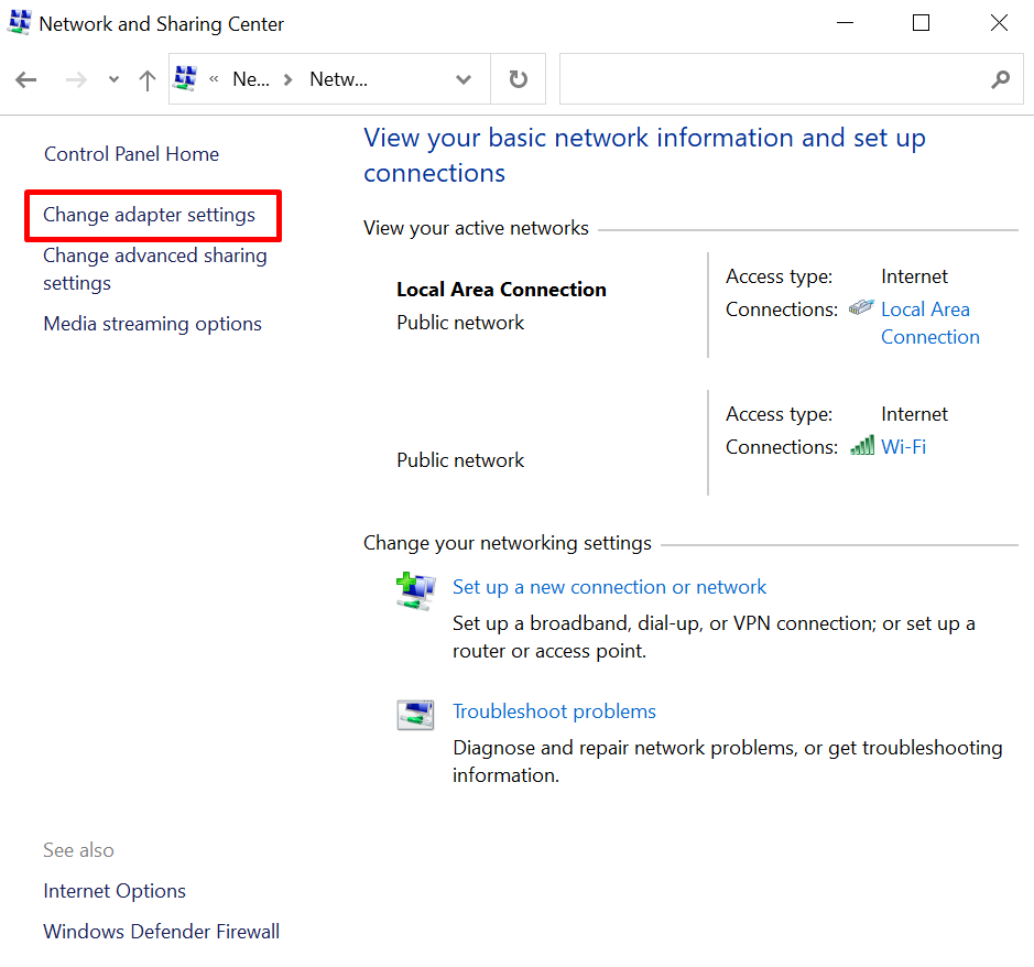 Screenshot of Control Panel Network and Sharing Center in Windows where you can change adapter settings