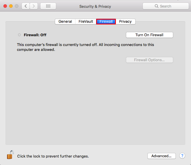 Screenshot of Mac system preferences illustrating how to turn off Firewall