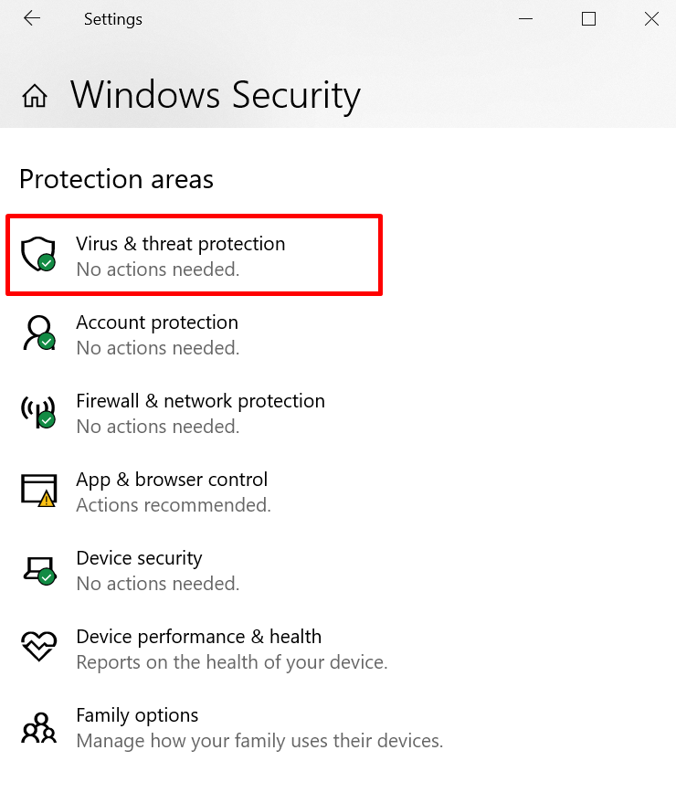 Windows security settings window - choose virus and threat protection