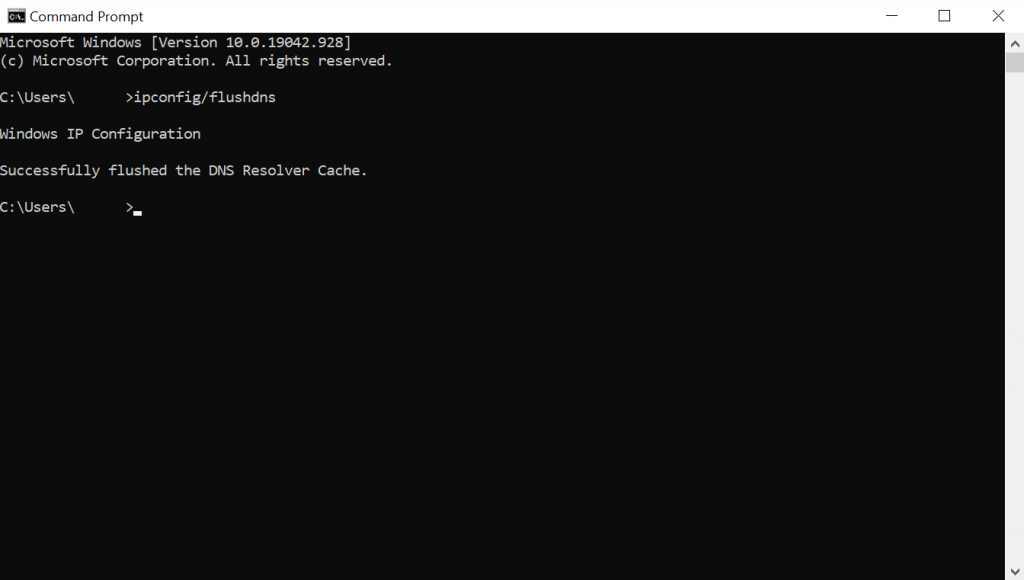 Screenshot of the confirmation message in Windows Command Prompt