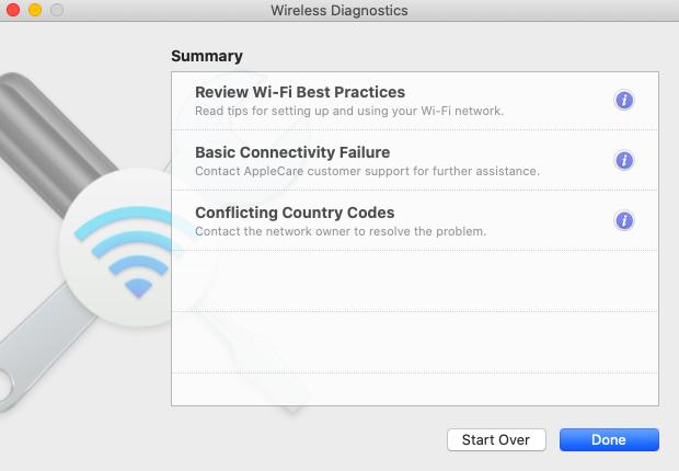 Wireless diagnostics settings in Mac