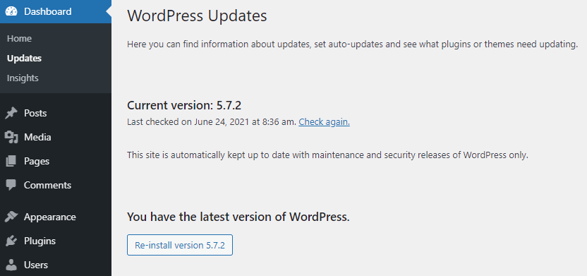 Screenshot of WordPress dashboard showing the current WordPress version.