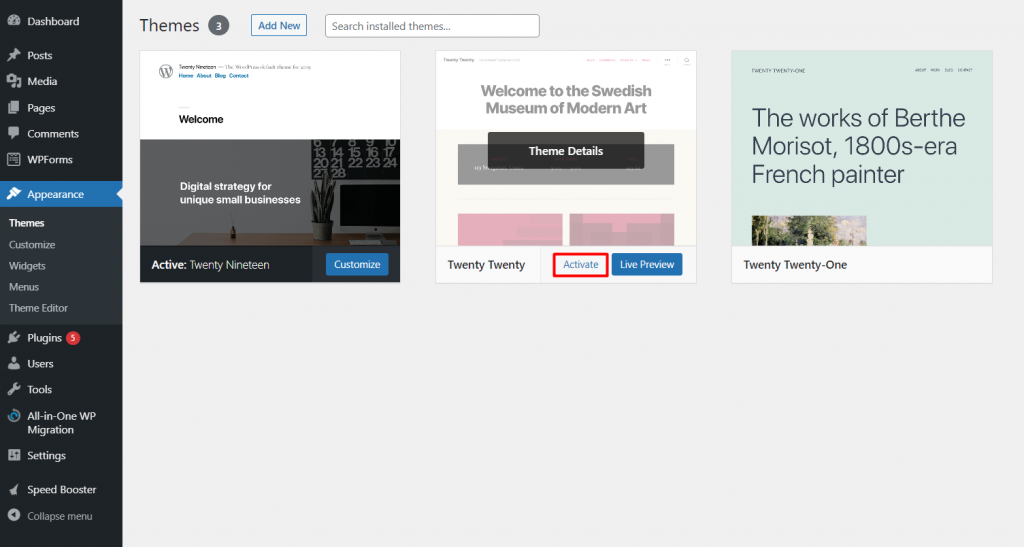 Appearance section in the WordPress dashboard