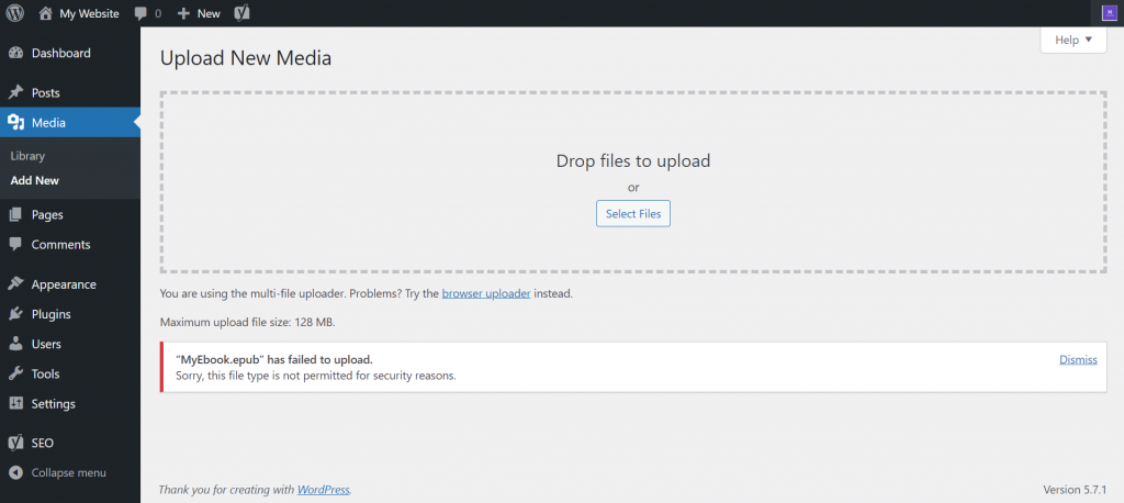"""Screenshot of WordPress dashboard showing """"this file type is not permitted for security reasons"""" error."""