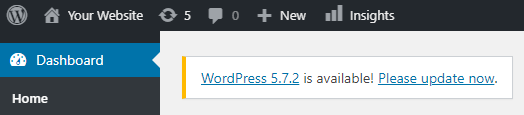 WordPress dashboard showing the notification that a new version is available.